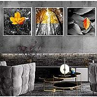 """北欧のキャンバスアート絵画黄色のポスター新鮮な風景写真風景壁画モダンな装飾家の寝室31.4"""" x31.4""""(80x80cm)X3フレームレス"""
