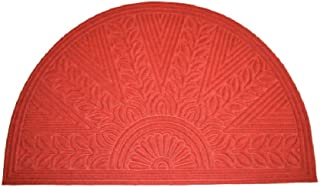 """Imports Decor Synthetic Half Round Rice Bran Door Mat, 30"""" x 47"""", Red"""