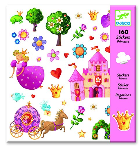 Djeco - Luftballons, Aufkleber Prinzessin Gänseblümchen, mehrfarbig (100)