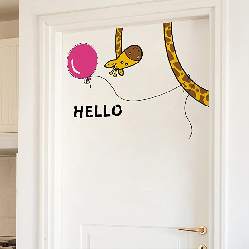 BIBITIME Living Room Porch Back Door Hello Giraffe Wall Decal Sayings Hello Sign Balloon Sticker For Nursery Bedroom Kids Room Decor DIY 26 77 X 22 83