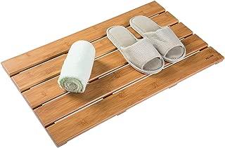 PELYN Shower Mat Bamboo Bath Mat for Bathroom Bathtub Spa Sauna Kitchen Patio Indoor Outdoor 26 x 15.3 inch, Natural