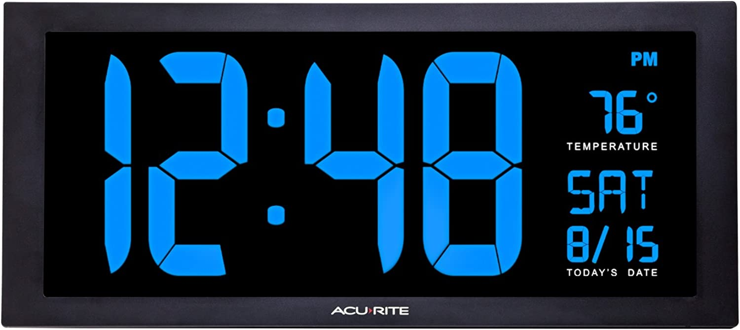AcuRite 76100M Oversized LED Clock with Indoor Temperature, Date and Fold-Out Stand 18-Inch bluee