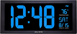 AcuRite 76100M Oversized LED Clock with Indoor Temperature, Date and Fold-Out Stand 18-Inch Blue