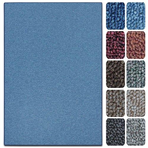 casa pura Teppich London | viele Größen | pflegeleichter Flacher Schlingenflor | Flurteppich, Wohnzimmerteppich, Küchenteppich, Schlafzimmerteppich (Hellblau - 200x200 cm)