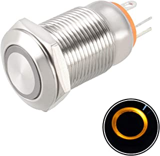 Yellow TWTADE 19mm IP65 Waterproof Latching Power Metal Push Button Switch 3//4 5A DC12V Stainless Steel Shell 5 Year Warranty YJ-GQ19BF-D-L-Y LED Ring Switch 1NO 1NC with Wire Socket Plug