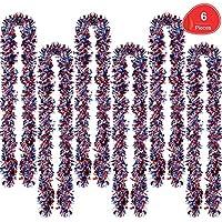 6-Piece Sumind Red White Blue Tinsel 39.4 Feet Metallic Garland Sparkling Hanging Decoration