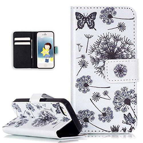 iPhone se funda, iPhone 5s, iPhone 5Case, ikasus plumas de diente de león diseño de flores pintadas Patrón de piel sintética Fold Funda Premium–Funda de piel tipo libro con función atril soportes de ID de tarjeta de crédito para Apple iPhone se 2016& iPhone 5S y 5
