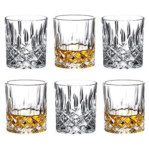 Juego de 6 vasos de whisky para cócteles clásicos, vasos de cristal de alta calidad, vasos altos de vidrio para beber bourbon, whisky, cócteles, coñac, whisky, tamaño grande, 10 onzas