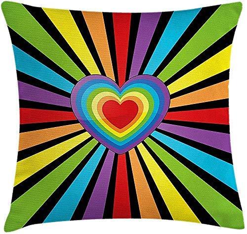 Bru565und - Funda de cojín con diseño de arco iris, varios corazones combinados para formar un corazón más grande con suelo de rayas simétricas, funda de almohada decorativa cuadrada de 18 x 18 pulgadas