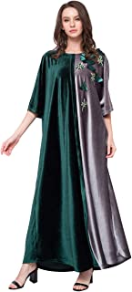 Women's Embroidered Half Sleeve Casual Loose Velvet Dress Muslim Dress