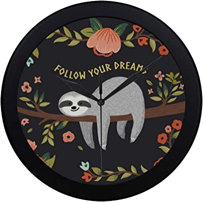 Modern Simple Follow Your Dreams Cute Baby Sloth On The Tree Pattern Wall Clock Indoor Non