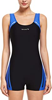 BALEAF Women's Athletic Boyleg Wide Straps One Piece Swimsuit Splicing Sports Swimwear