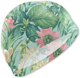 スイムキャップ 美味しいメロンと美しい花 水泳帽子 キッズ 上品 軽量 紫外線遮断 おしゃれ 吸水速乾 スイミング 通気性 弾性 耐久性 季節問わず スポーツ