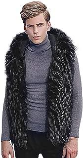 Mens Jackets, Faux Fur Vest Jacket Sleeveless Winter Body Warm Coat Hooded Waistcoat Gilet