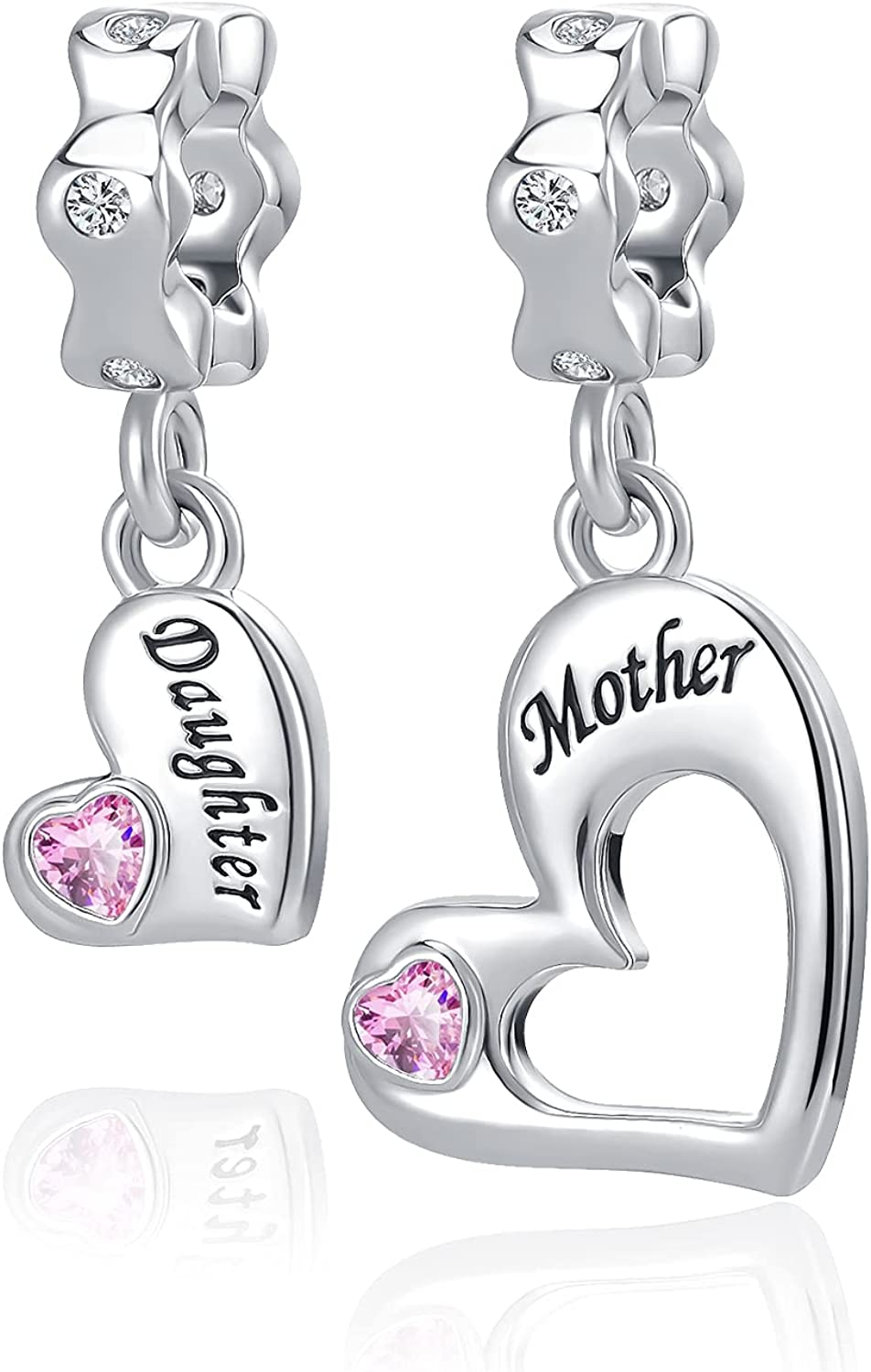 QeenseKc 2PCS Mother Daughter Love Heart Charm I Love You to The Moon and Back Crystal Enamel Dangle Bead Charm