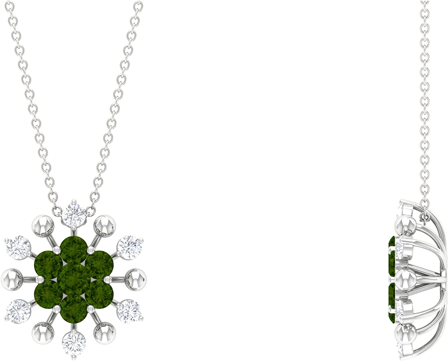 1.25 CT Green depot Tourmaline and Neck Pendant Max 53% OFF Cluster Floral Diamond