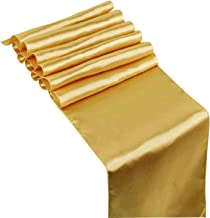HOSL Pack of 10 Gold Satin Table Runners 12 x 108 Inches For Wedding Banquet Party Decoration
