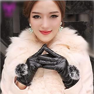 1 Pack (1 Pair) Women PU Leather Winter Gloves Color Black Rabbit Fur Ball Mittens Unisex Men Girls Kids Impressive Fashionable Extreme Gym Plus Screen Tactical Work Hand Wrist Strap Dryer Touch Glove