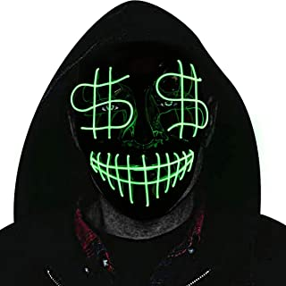 Halloween Mask, Cosplay LED Glow Scary EL Wire Light up Fox Masks Festival Parties Costume