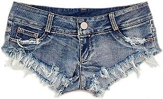 S.Charma Women Denim Shorts Sexy Low Waist Frayed Ripped Hole Ladies Hot Pants