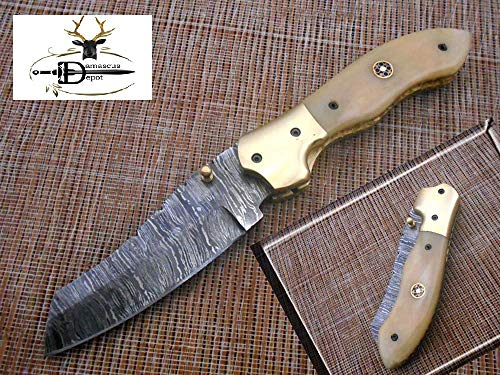 Tanto Blade Hand Forged Damascus Steel Pocket Knife, Natural Camel Bone Scale with Brass Bolster Folding Knife, Cow Hide Leather Sheath Included with Belt Loop
