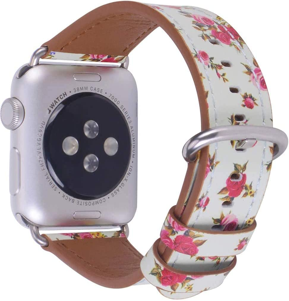JSGJMY Compatible with Apple Watch Band 38mm 40mm 42mm 44mm Women Men Genuine Leather Replacement Strap for iWatch Series SE 6 5 4 3 2 1 (Mint/Rose flowers with Silver Clasp,38mm/40mm S/M)