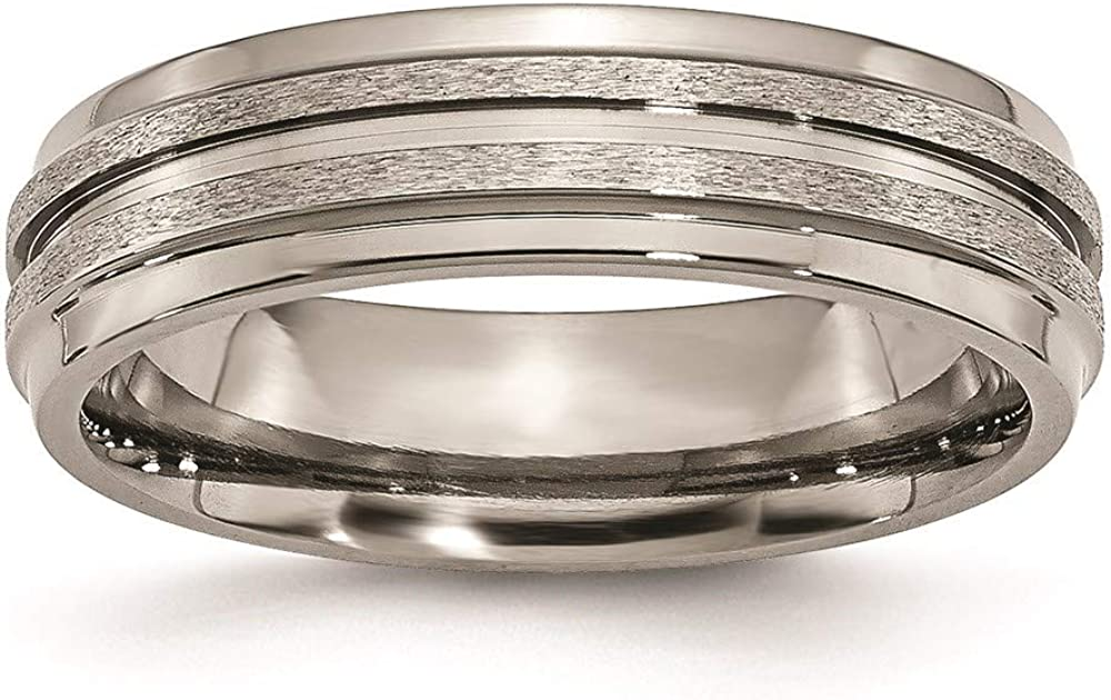 ICE CARATS Titanium Grooved Ridged Edge 6mm Wedding Ring Band Fashion Jewelry for Women Gifts for Her