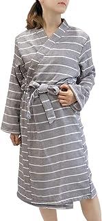 hiorie(ヒオリエ) 日本製 バスローブ ボーダー ガーゼ 表ガーゼ裏パイル レディース ガウン