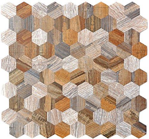 Mozaïek tegels mozaïektegels metaalmozaïek tegel bruin houtlook hexagon mat keukentegel wc tegelspiegel tegel | 10 mozaïekmatten