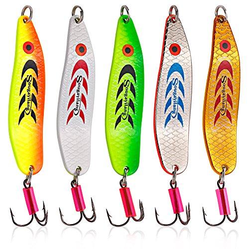 Sougayilang Colorful Hard Spoon Spinner Fishing Lures Metal Treble Hooks Baits-5 Pcs