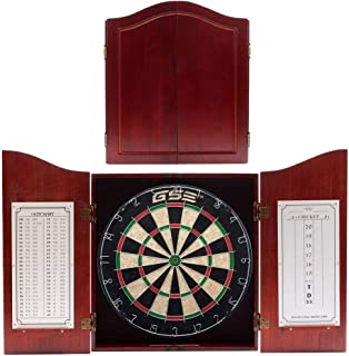 Solid Wood Dartboard Cabinet Set with Bristle Dartboard and 6 Steel Tip Darts (Oak/Mahogany) (Dark Cherry)