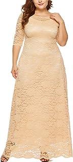 Eternatastic Womens Floral Lace 2/3 Sleeves Maxi Dress Evening Party Long Dress 3XL Beige
