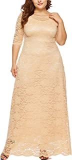 Womens Floral Lace 2/3 Sleeves Maxi Dress Plus Size Evening Party Dress