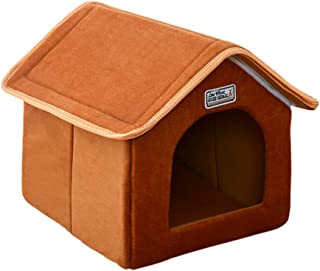 Portable Indoor Pet House Bed for Dog Cat, Urijk Portable Indoor Warm Soft Sponge Cat Dog House Pet Cottage with Removable Cushion, Great for Transportation and Short Outings
