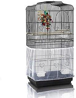 ASOCEA Bardzo duża klatka dla ptaków, łapacz nasion, ochraniacz, uniwersalny pokrowiec, nylonowa siatka, papugi, biała, be...