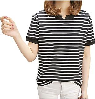 FELZ Camiseta para Mujer Moda Camiseta Mujeres Manga Corta De Las Mujeres Blusa Cuello Redondo A Rayas Jersey Chandal Tall...