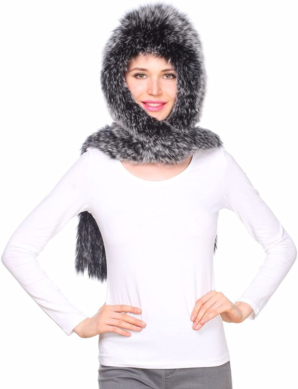 Ferand Women's Real Knit Fox Fur Scarf Wrap with Hood