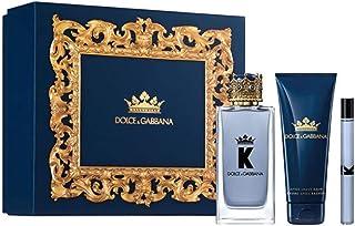 Dolce & Gabbana K for Men 3-Piece Gift Set (3.4 Ounce Eau De Toilette Spray +2.5 Ounce After Shave Balm+0.33 Ounce Eau De Toilette Spray), multi color