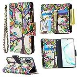 Nadoli Reißverschluss Brieftasche Etui für Samsung Galaxy Note 10 Plus,Bunt 9 Karte Halter Pu Leder Gemälde Baum Entwurf Lanyard Magnetisch Standfunktion Flip Schutzhülle
