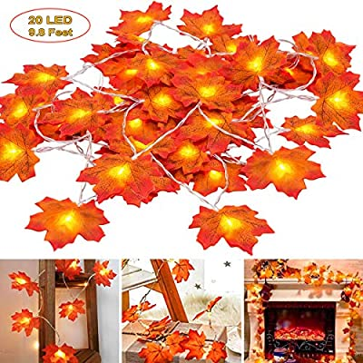 Thanksgiving Decorations Light Fall Garland, 9.8 Feet 20 LED Maple Leaf String Lights for Home Table Decorations Autumn Halloween Decor