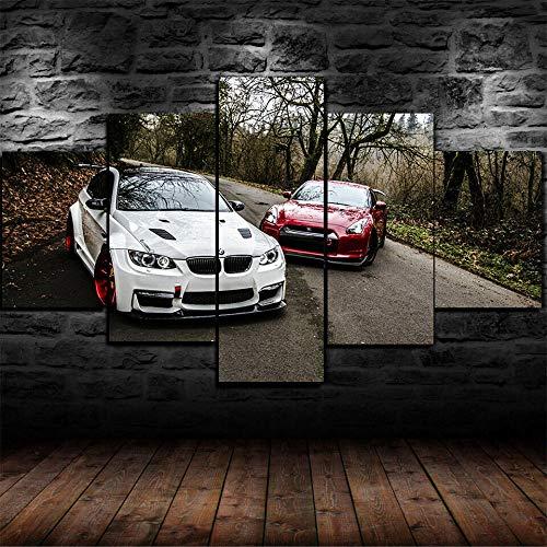 YUANJUN 3D Leinwanddrucke,Modulare Wandkunst Wandaufkleber,5 Teiliges Wandbild,Mit Rahmen,Größe 150 X 80 cm Leinwandbild, Wandbilder XXL BMW E92 Nissan GTR R35 Tuning Poster