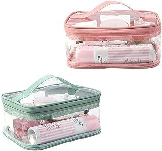 Bolsas de Aseo Transparente Mujer Viaje Cosmeticos Neceseres Toiletry Bag 2pcs Portátil y Impermeable Material de PVC Bolsa de Cosméticos Portátil Transparente