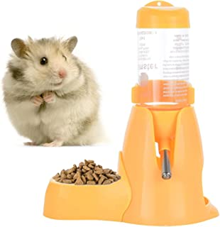 Hamster Automatic Water Bottle Drinking Feeder Dispenser Bottle 80ML with Food Feeder Station bowl Pet Container for Small Animals(Yellow)