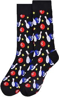 Men`s Premium Black Bowling Pins Novelty Crew Dress & Trouser Socks, Gray, One Size