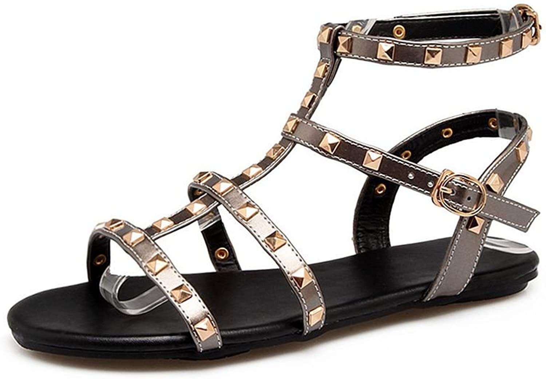 GIY Women's Strappy Gladiator Flat Sandals Buckle Comfort Platform Rivets Summer Beach Sandals Black White