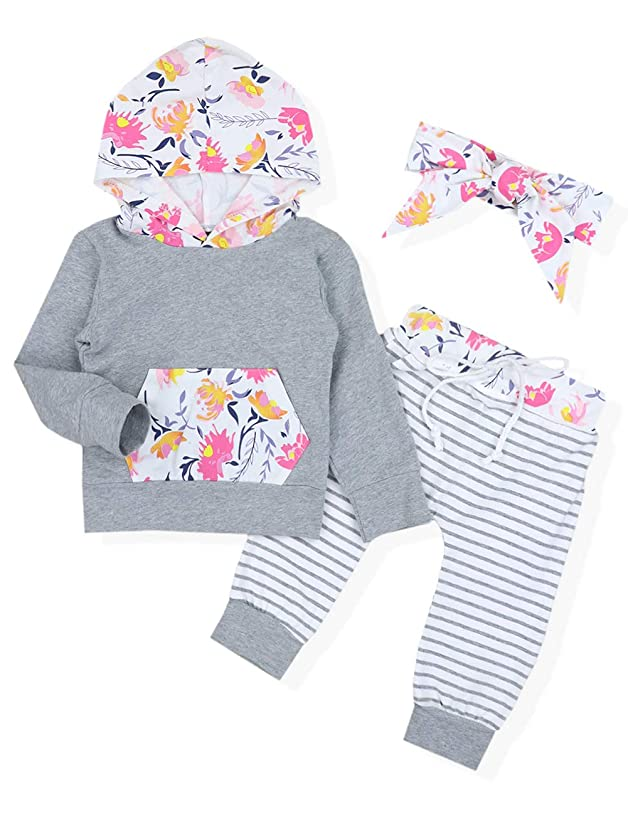 Baby Girl Outfits Florals Hoodie Top with Pocket Striped Long Pants and Headband Clothes Set