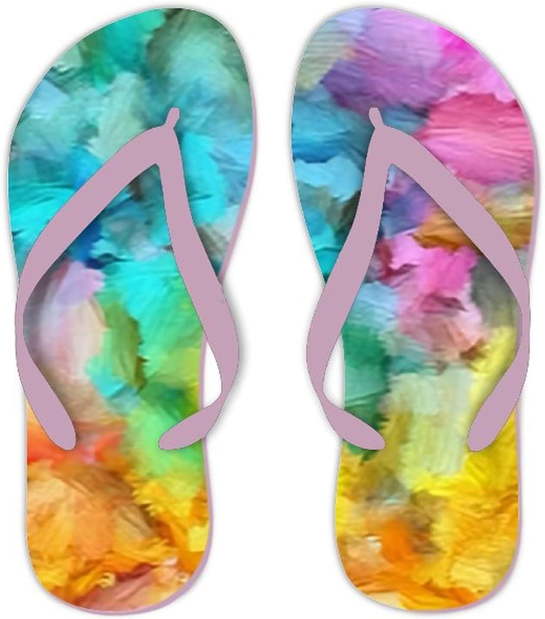 UTF4C Summer Flip Flops for Men Women Soft Brushstrokes Paint Artistic Pattern Soft Lightweight Non Slip Sandals for Shower Beach Pool Bathroom Flat 10