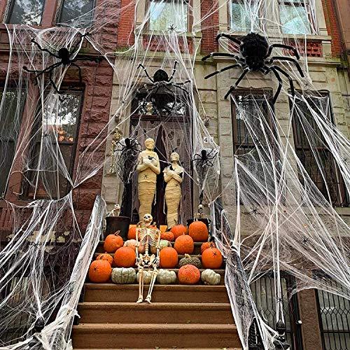 LANWANGJI 1000 pies cuadrados de tela de araña elástica para Halloween con 100 arañas luminosas para interiores y exteriores (300 g de tela de araña)