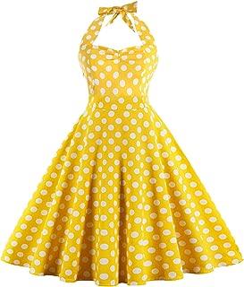 Women's 50s Vintage Rockabilly Halter Neck Dress Swing Tea Dress Party Cocktail Gown