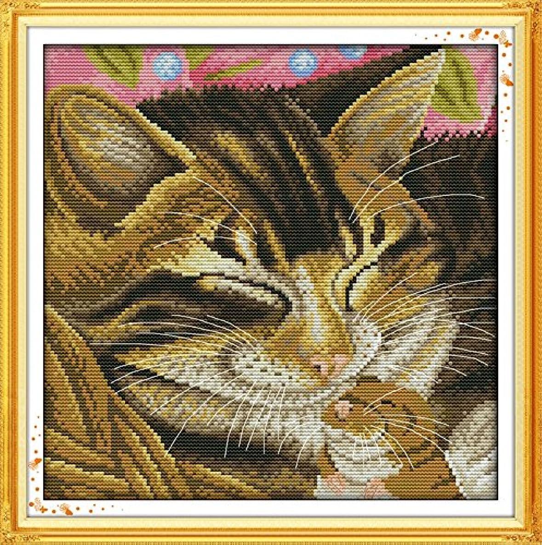 Joy Sunday Cross Stitch Kit 14CT Stamped Embroidery Kits Precise Printed Needlework- Smiling cat 31×31CM
